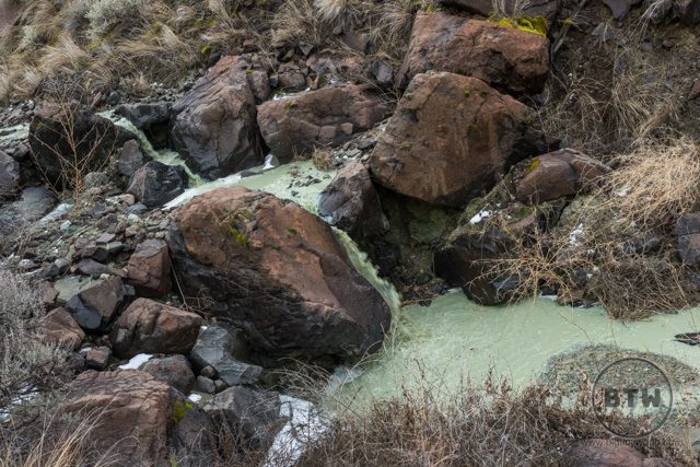 A milky green creek flowing into a small pool at the Blue Basin in Central Oregon