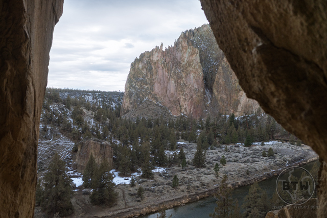 Looking out at Smith Rock from within a rocky alcove