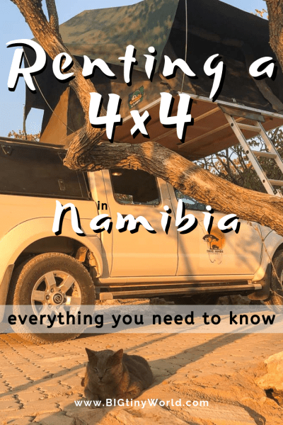 Renting a 4x4 in Namibia: Everything You Need to Know | BIG tiny World Travel | We spent 20 days in a 4x4 camping truck. Click to get the inside scoop on all you need to know about renting and driving one of these trucks in Namibia! | #camping #namibia #4x4 #rentals #africatravel #shadeadventures