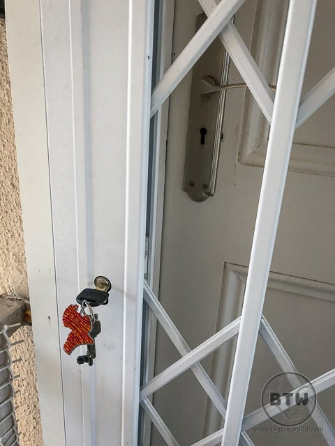 Key in the door of an Airbnb in Cape Town, South Africa