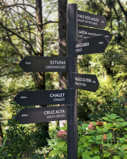 Pena Palace Gardens sign showing park locations