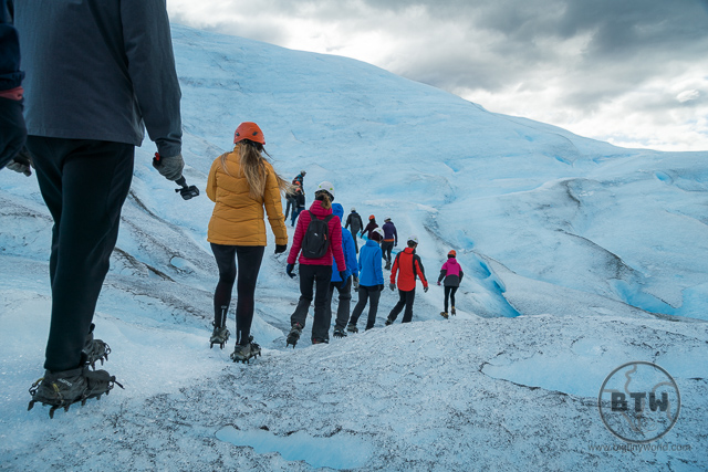 Line of people on Perito Moreno Ice Trek