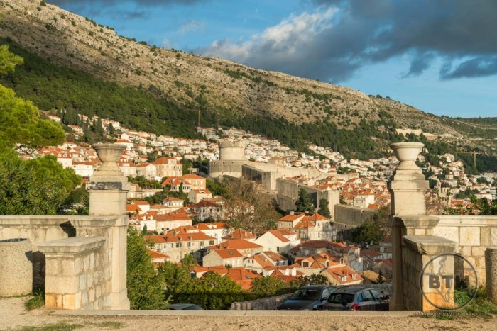 The many buildings in the city of Dubrovnik, Croatia, at sunset