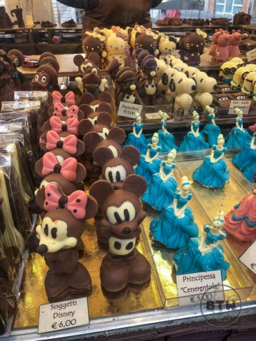 Chocolate cartoon characters at a fair in Modena, Italy