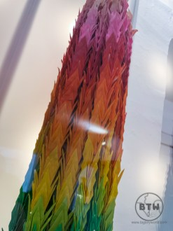 A thousand rainbow-colored cranes at the Museum of Broken Relationships in Zagreb, Croatia