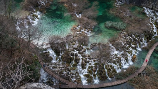 Looking down on some of the waterfalls at Plitvice Lakes National Park in Croatia