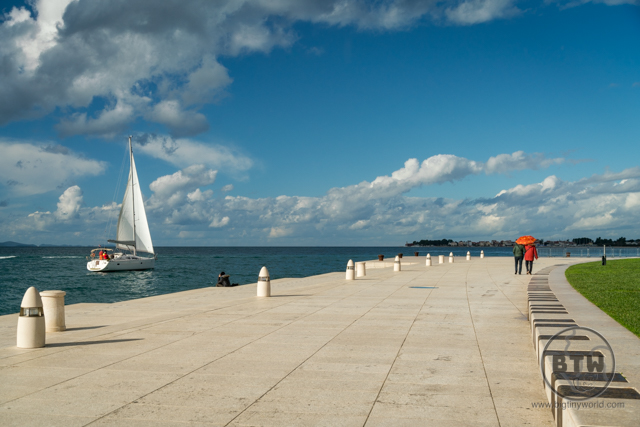 A sailboat at the waterfront of Zadar, Croatia