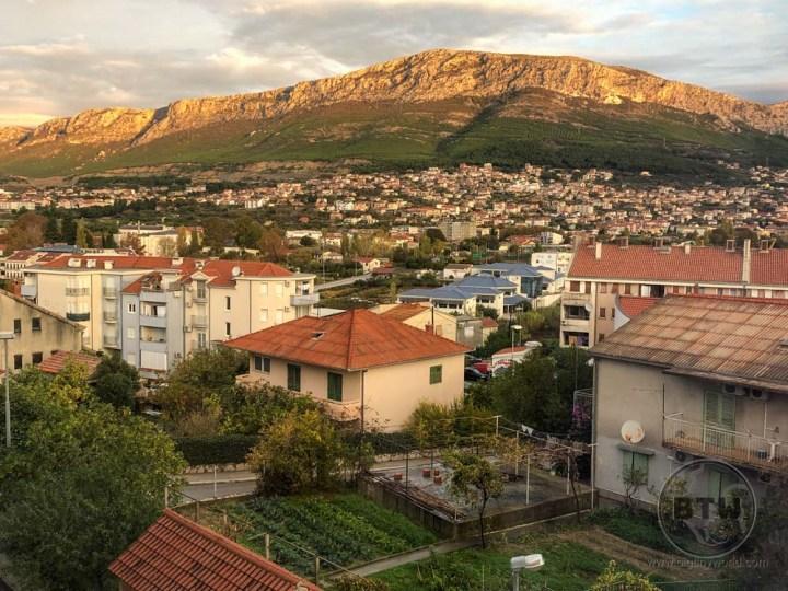 Sunrise on the hill overlooking Split, Croatia