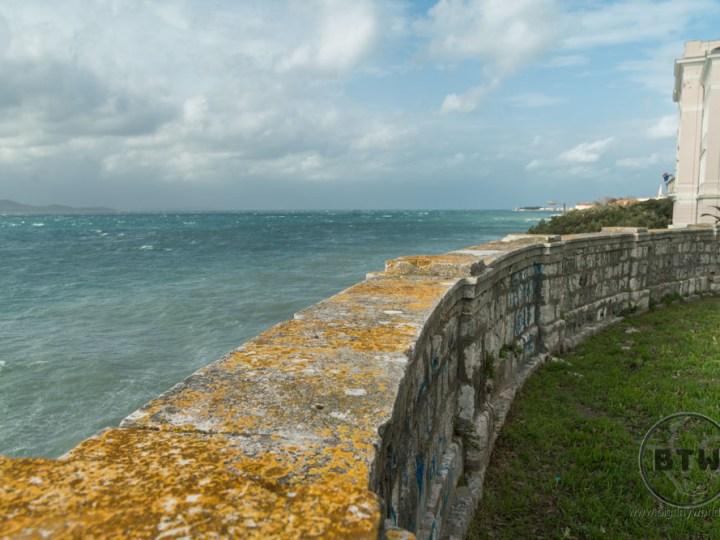 A wall overlooking the ocean in Zadar, Croatia