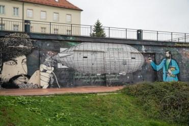 Street art of a zeppelin in Zagreb, Croatia