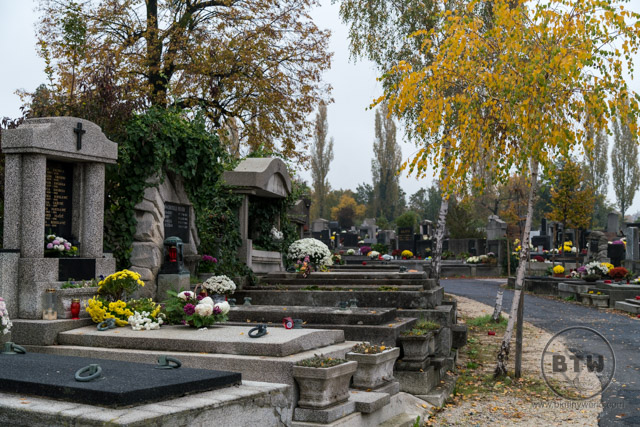A row of graves in a cemetery in Zagreb, Croatia