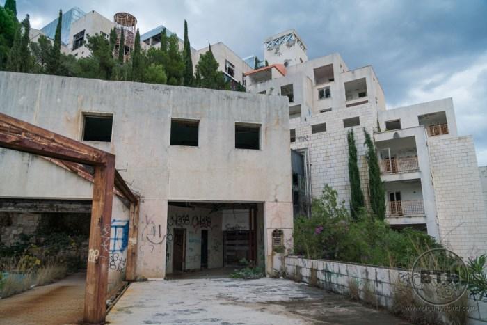 The ruins of the Belvedere Hotel in Dubrovnik, Croatia