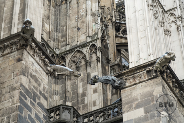 A goat (and other) gargoyle on the cathedral in Cologne, Germany