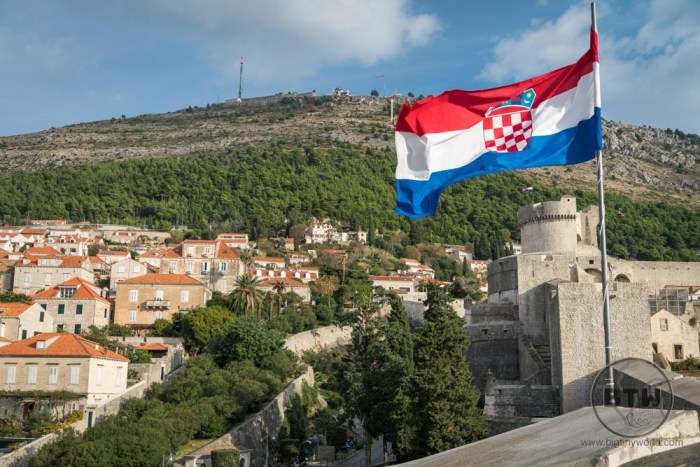 Croatian flag on the wall of Dubrovnik, Croatia