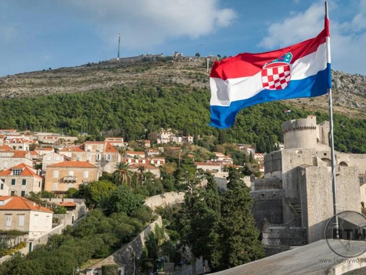 Croatian flag on the wall of Dubrovnik, Croatia