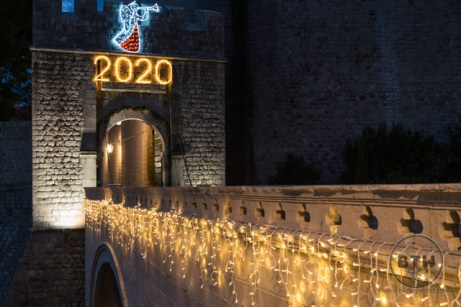 Lights decorating the gate of Dubrovnik, Croatia