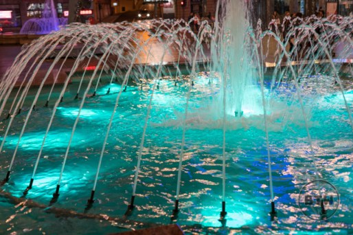 A colored fountain in Rijeka, Croatia