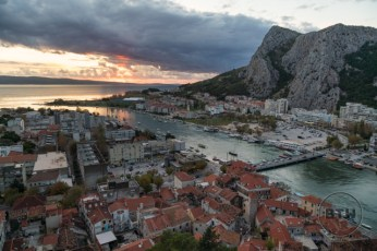 The sunset as viewed from the fortress overlooking Omis, Croatia
