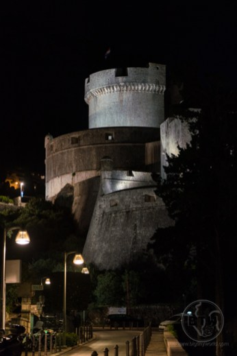 The tower of Dubrovnik, Croatia, lit up at night