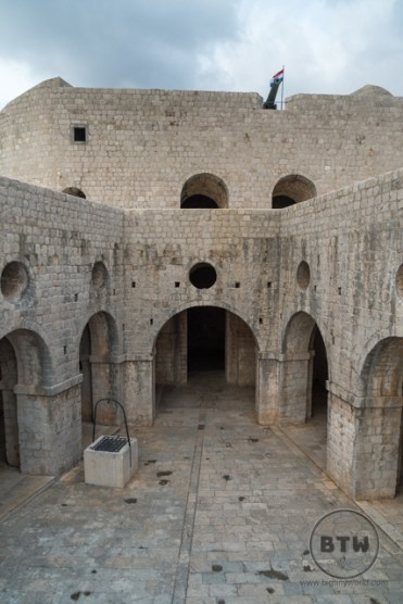 The courtyard of the fortress in Dubrovnik, Croatia
