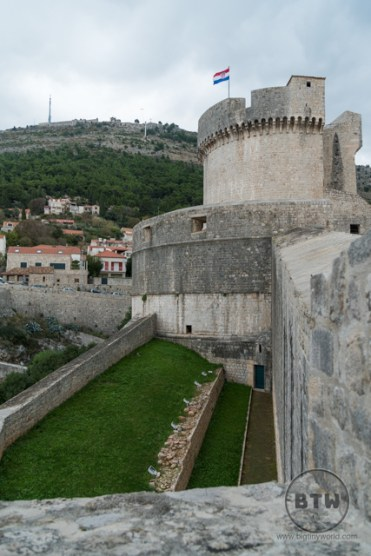 A tower and yard along the wall in Dubrovnik, Croatia