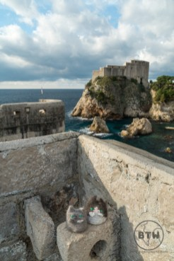 Viewing the fortress across the bay from the wall of Dubrovnik, Croatia