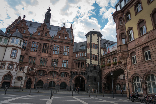 A plaza in Frankfurt, Germany