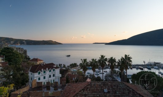 The sunset view of the ocean from Herceg Novi, Montenegro