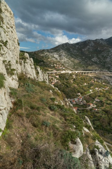 Looking out at a highway overpass from Klis Fortress near Split, Croatia