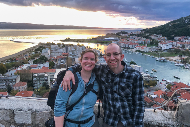 Aaron and Brianna posing at the top of the fortress in Omis, Croatia