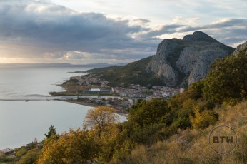 An elevated view of the bay at Omis, Croatia