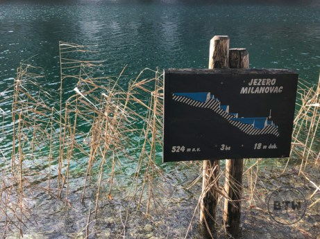 A sign depicting the location along the many lakes in Plitvice Lakes National Park, Croatia
