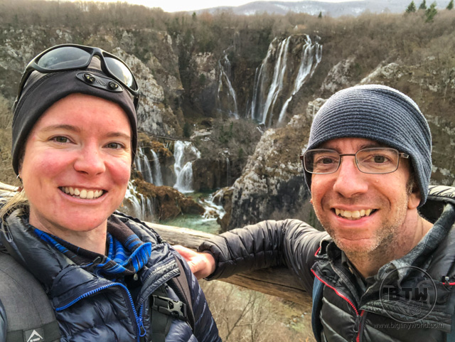Aaron and Brianna in front of the waterfalls at Plitvice Lakes National Park, Croatia