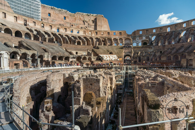 Inside the Roman Colosseum in Rome, Italy