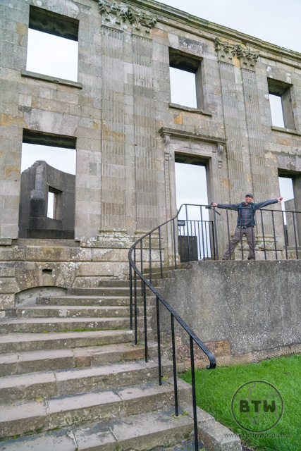 Aaron at the entrance of the Downhill Demesne in Northern Ireland