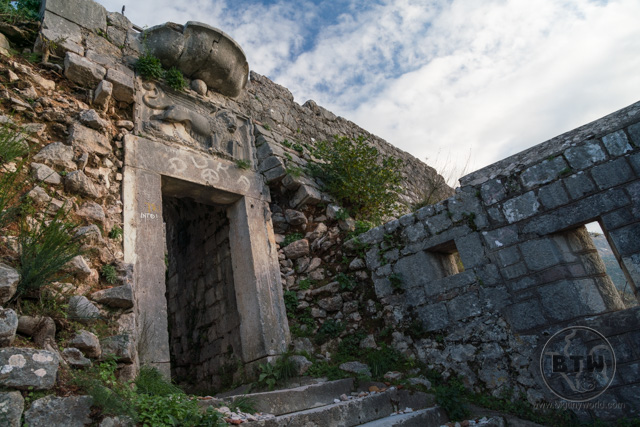 A doorway of the Fortress of St. John in Kotor, Montenegro