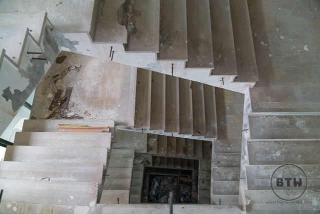 Stairs inside the ruins of the Hotel Belvedere in Dubrovnik, Croatia
