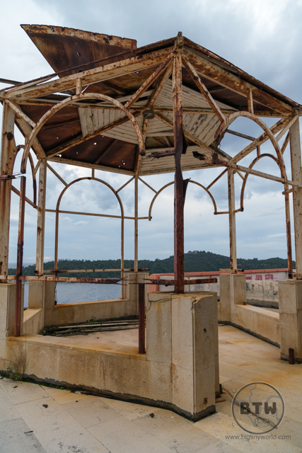 A gazebo frame at the Hotel Belvedere in Dubrovnik, Croatia