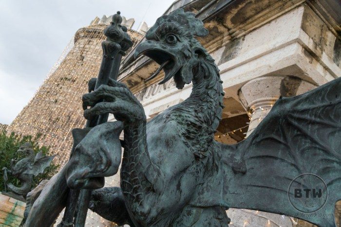 A griffen statue at the Trsat Castle in Rijeka, Croatia