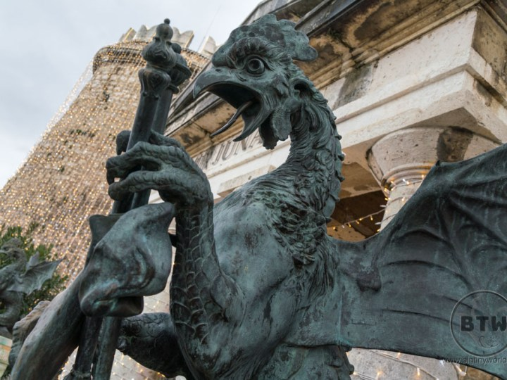 A griffen statue at the Trsat Castle in Rijeka, Croatia
