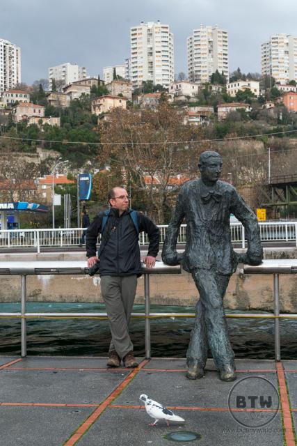 Aaron mimicking a statue in Rijeka, Croatia