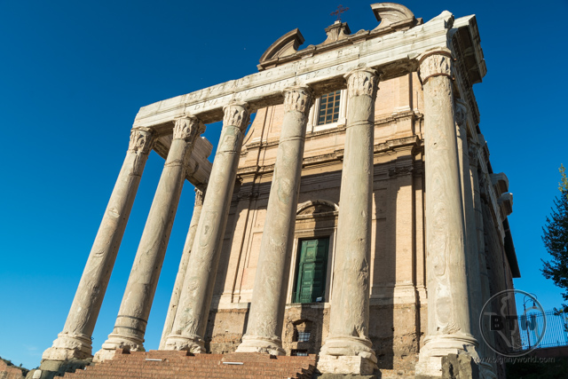 Columns outside an old building ruin at the Roman Forum in Rome, Italy