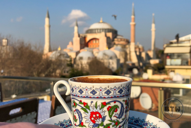 Turkish coffee in front of the Hagia Sofia in Istanbul, Turkey