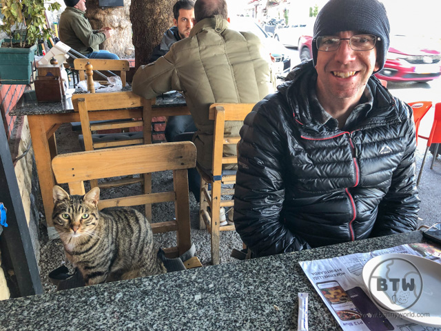 Aaron sitting at a restaurant table next to a street cat