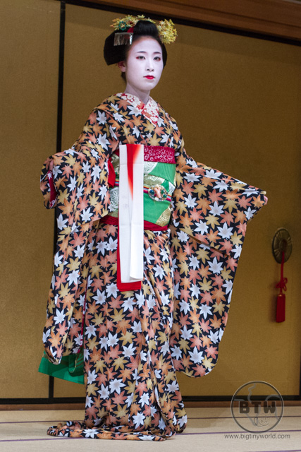 A geisha in a leaf kimono during a performance at the Gion Center in Kyoto, Japan
