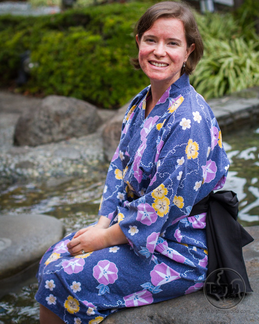 Brianna in a yukata at the Ouedo Onsen in Tokyo, Japan