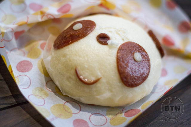 A stuffed meat bun made to look like the face of a panda in Tokyo, Japan