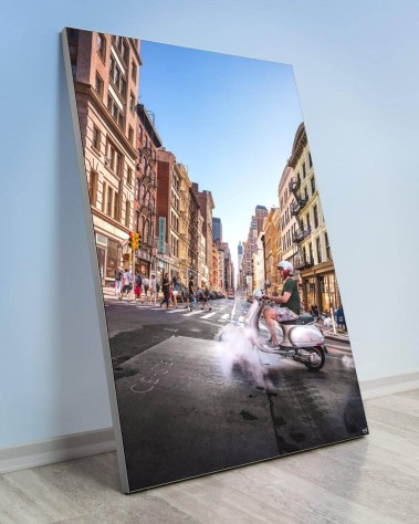 Giant Wall Art New York Huge Biggest Massive Gigantic Big Large Largest Wall Décor Art Backlit Fabric Home Deco Artwork Artist New York City Street Icon Portrait Scenic Photographer Nick Ford Nick40V City Street Urban Moped Crosswalk Portrait