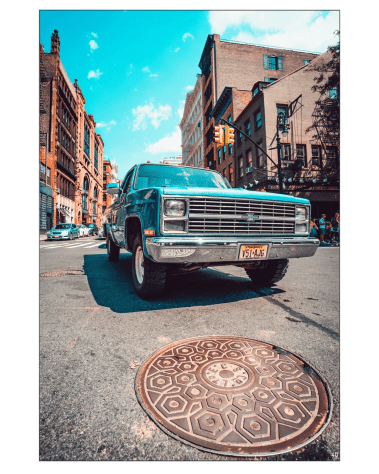 Oversized Home Decor New York Art Gigantic Big Biggest Massive Huge Large Largest Giant Wall Backlit Fabric Home Deco Artwork Artist New York City Street Icon Portrait Scenic Photographer Nick Ford Nick40V Truck City Street Urban