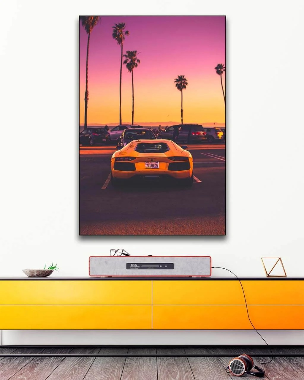 Big Lamborghini Sports Car Sunset Wall Art Huge Decor Prints